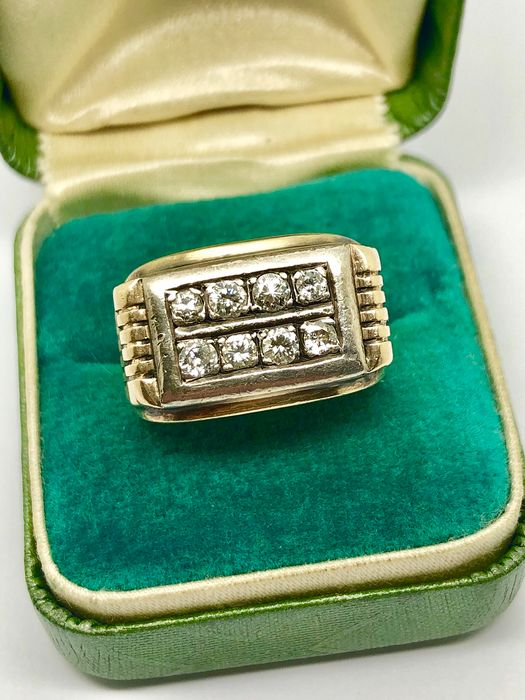"""14 kt. Yellow gold - Knight Ring """"NO RESERVE PRICE"""" - 0.65 ct diamonds"""