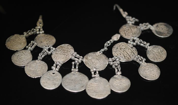 Head ornament - Low grade silver - Central Asia