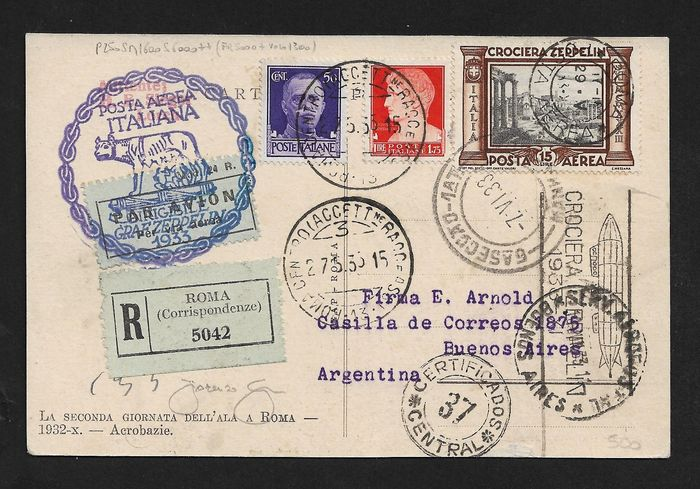 Italie 1933 - Kingdom, ZEPPELIN CRUISE, circulated postcard on the airship stamped with L. 15 Zeppelin + more. - Sassone N° 49.