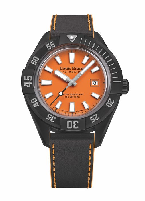 """Louis Erard - Automatic Diver Watch Sportive Collection Orange Dial """"NO RESERVE PRICE"""" - 69107NN17.BVDN57 - Heren - Brand New"""