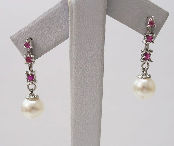 14 kt. Akoya pearl, White gold - Earrings Pearl - Ruby