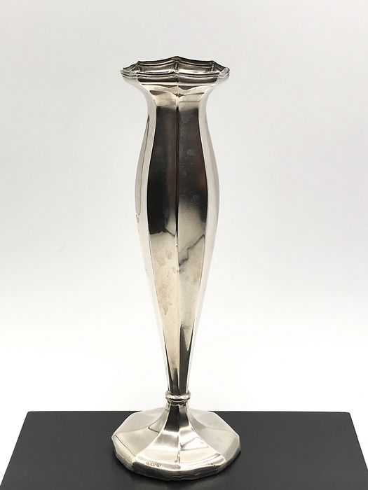 Lutz & Weiss Ca.1900 - Antique handmade 8-sided silver flower vase - Silver