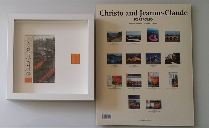 Christo and Jeanne Claude - Taschen Portfolio 2005 + The Gates  signed and framed art card - 2005