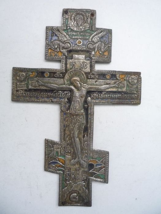 Russian silvered Priest Cross with enamels - Bronze