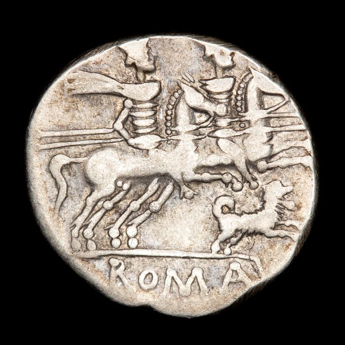 Roman Republic - Denarius - C. Antestius (146 BC). Rome - The Dioscuri on horseback galloping right; below, DOG running right. - Silver