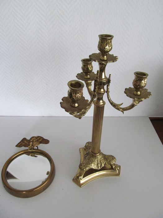 Brass three light candlestick and mirror with convex glass and eagle - Brass
