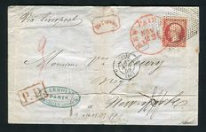 "Frankrig 1859 - Rare letter from Paris to New York - stamped ""Custom House New York"" in red."