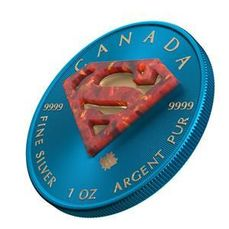 Canada - 5 Dollars  2019 Superman Space Blue 1Oz  Coin with Real OPAL Stone - Argent
