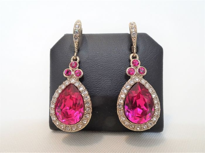 Givenchy - Yellow Gold Simulated Pink Sapphire & Diamond Crystal Pierced Earrings