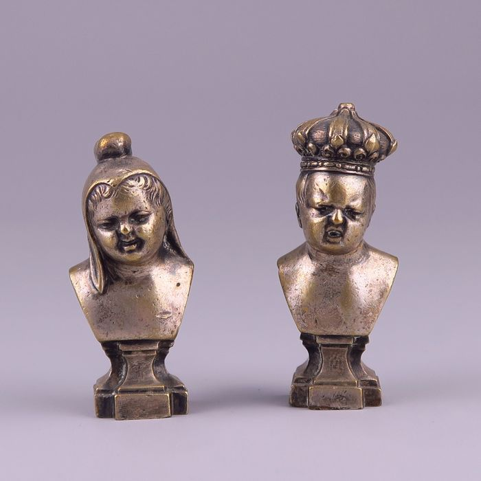 "Pair of silver plated bronze busts ""Jean qui ride, Jean qui pleure"" - Bronze (silvered) - Late 19th century"