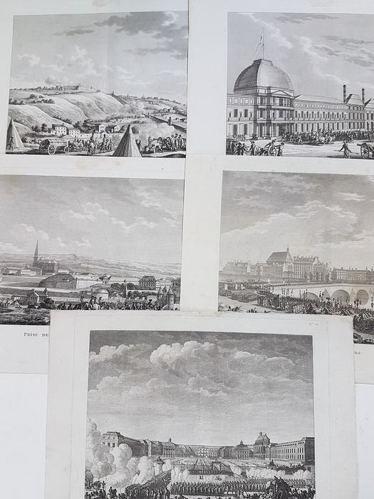 5 etchings by Pierre Gabriel Berthault (1737-1831), after Prieur and Swebach Desfontaines - Scenes from the French First Republic