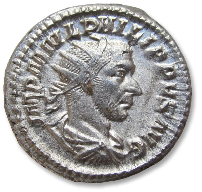 Roman Empire - AR antoninianus, Philip I 'the Arab'. Rome mint 244-247 A.D. - LAET FVNDATA, scarce spelling variety for LAETIT FVNDAT - Silver