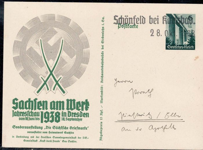 Sudetenland 1938 - Special postal stationery with Liberation postmark as well as propaganda poem on the back