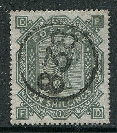 Great Britain - England 1867 - 10 shilling grey-green watermark ANCHOR - Stanley Gibbons 135