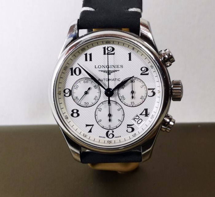 Longines - Master Collection Automatic Chronograph Texture Dial XL Size Full Set NO RESERVE - REF. L2.693.4 - 男士 - 2011至现在