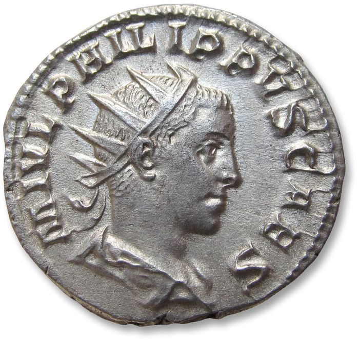 Roman Empire - AR antoninianus, Philip II as Caesar, son of Philip I - nearly mint state coin - Rome 244-247 A.D. - IOVI CONSERVAT, Jupiter left - Silver