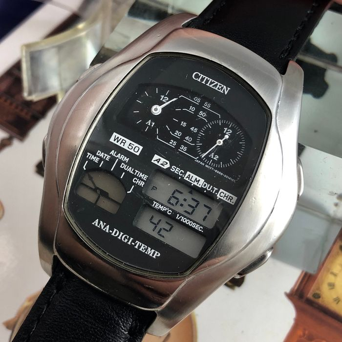 Citizen - CITIZEN JG2081-57E Quartz Ana-Digi Temp Retro Silver - NO RESERVE PRİCE - - JG2081-57E - Heren - 1990-1999