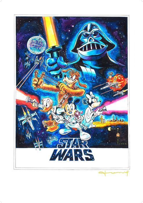 Star Wars - Donald, Goofy, Minnie & Mickey Mouse - Large Giclée - 100 x 70 cm - Tony Signed - First edition