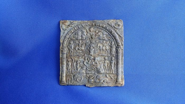 Ancient Roman Lead ! Finest Quality ! Danubian Cultic Mystery Plaque - 8.1×7.6×0.5 cm