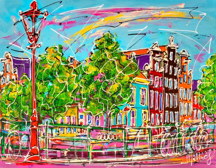 Mathias - Canal of Amsterdam, typical houses and red light
