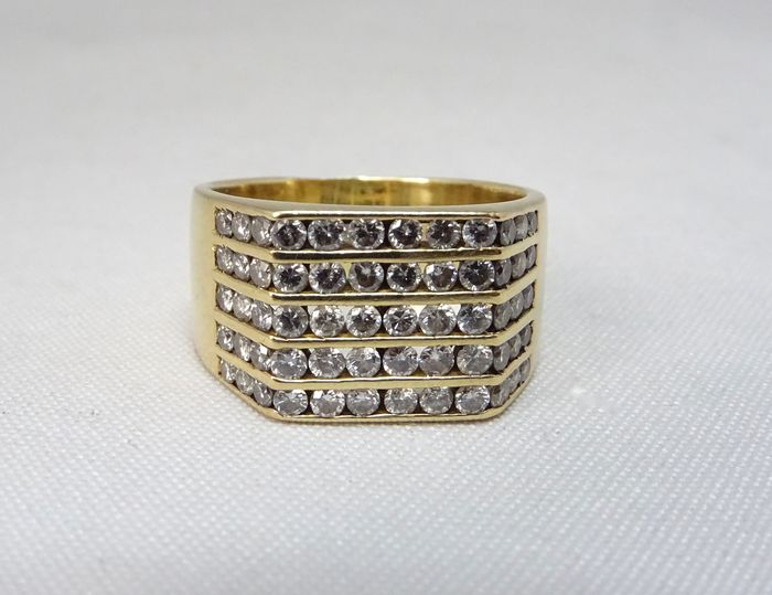 18 kt. Yellow gold - Ring - 1.20 ct Diamond