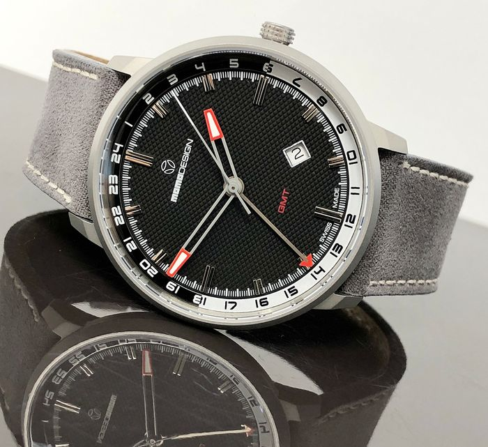 MomoDesign - Watch Essenziale GMT Black Stainless Steel Swiss Made - MD6005SS-12 - Herren - Brand New