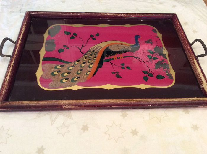 antique tray on glass painted PEACOCK (1) - Glass