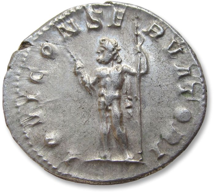 Roman Empire - AR antoninianus, Philip II as Caesar, son of Philip I - nearly mint state coin - Rome 244-247 A.D. - scarce/rare variety with CONSERVATORI spelled in full - Silver