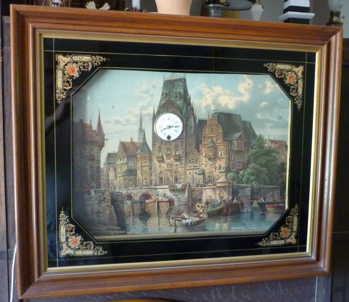 Musical clock lithograph - Early 20th century