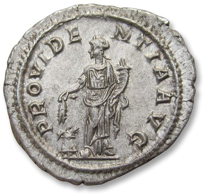 Roman Empire - AR Denarius - nearly mint state coin & beautifully centered - Severus Alexander, Rome mint 231-235 A.D. - PROVIDENTIA AVG, Providentia standing left - Silver