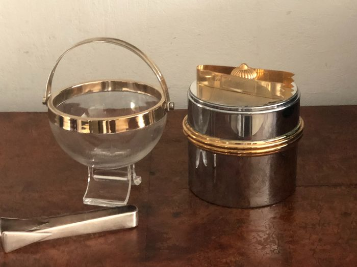 Ice buckets with tongs (4) - Glass, metal