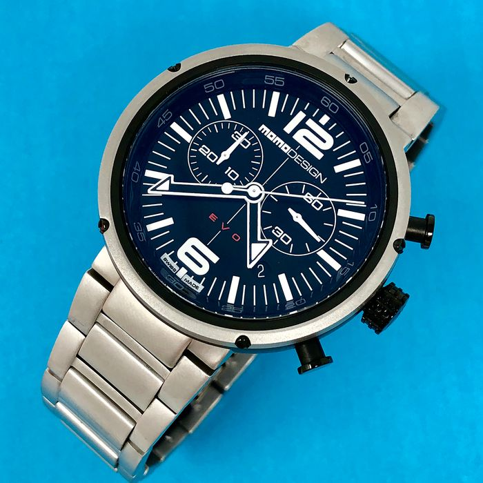 """MomoDesign - Watch EVO Black Dial Chrono Stainless Steel Swiss Made  - MD1012BS-10 """"NO RESERVE PRICE"""" - Men - Brand New"""
