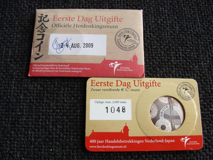 The Netherlands - 5 Euro 2009 'Japan' 1e dag uitgifte coincard