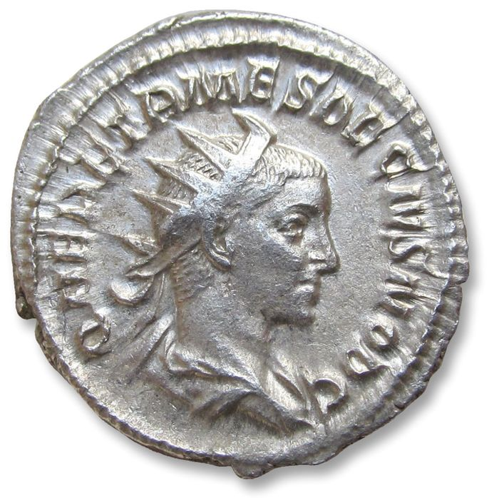 Roman Empire - AR antoninianus, Herennius Etruscus as Caesar - nearly mint state - Rome mint 249-251 A.D. - PIETAS AVGVSTORVM, priestly implements - Silver