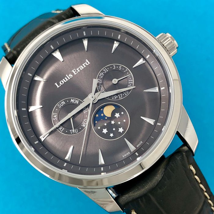 "Louis Erard - Heritage Collection Watch with Moon Phase Grey Dial and Strap  - 14910AA03.BDC103 ""NO RESERVE PRICE"" - Heren - Brand New"
