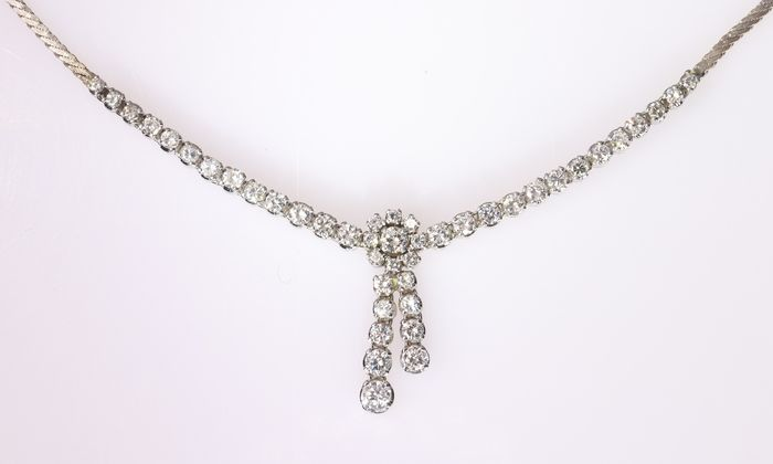 18 quilates Oro - Collar con colgante, Vintage, Retro - Anno 1970 - 3.28 ct Diamante