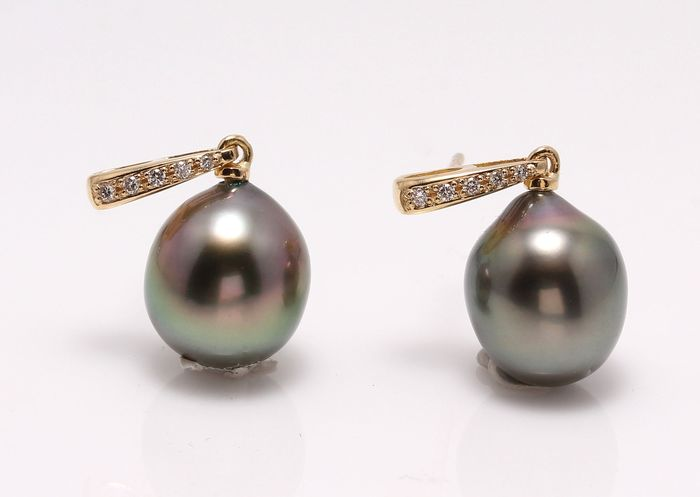 NO RESERVE PRICE - 14 kt. Yellow Gold- 9x10mm Peacock Tahitian Pearls - Earrings - 0.08 ct