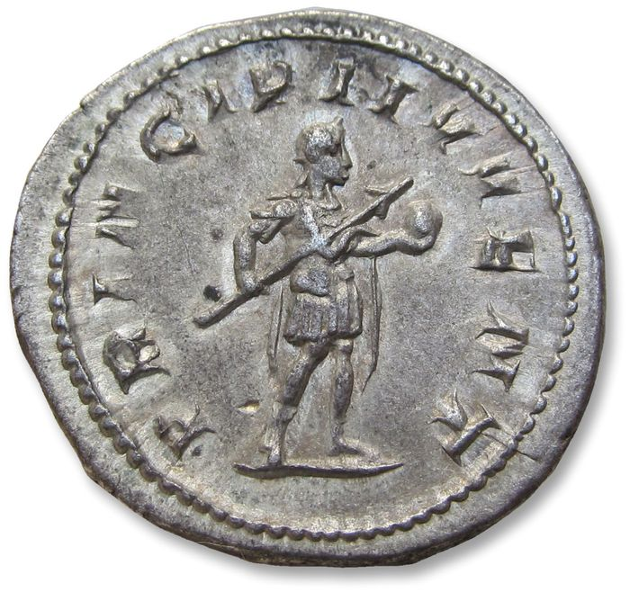 Roman Empire - AR antoninianus, Philip II as Caesar, son of Philip I - nearly mint state - Rome mint 245 A.D. - PRINCIPI IVVENT, Philip standing right - Silver