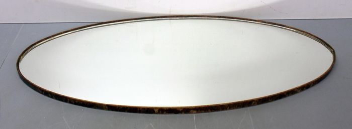 An antique mirror serving dish - 80 cm - Glass, Wood