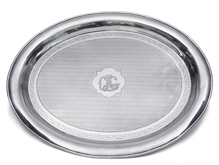 "Tray, Silver tray with ""guilloché"" decoration and initials. - .925 silver - Spain - 1850-1870"