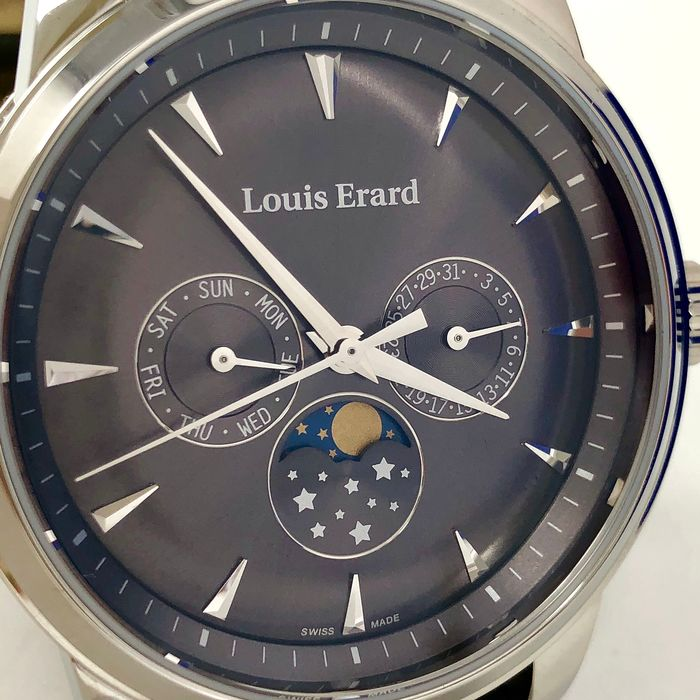 Louis Erard - Heritage Collection Watch with Moon Phase Grey Dial and Strap  - 14910AA03.BDC103 - Heren - Brand New