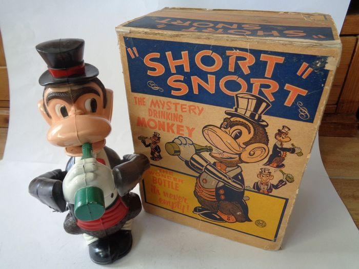 Marx - Vintage - Wind-up Short Snort The mystery Drinking Monkey with Box - 1950-1959 - North America