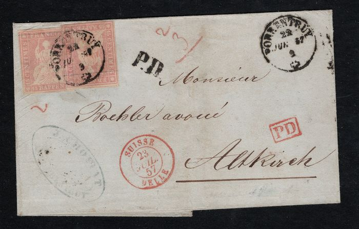 Switzerland 1854/1863 - Overlapping tête-bêche franking of the side paper Strubel, light reddish-carmine, in French border - Zumstein/SBK Nr. 24F; Michel 15IIAzm