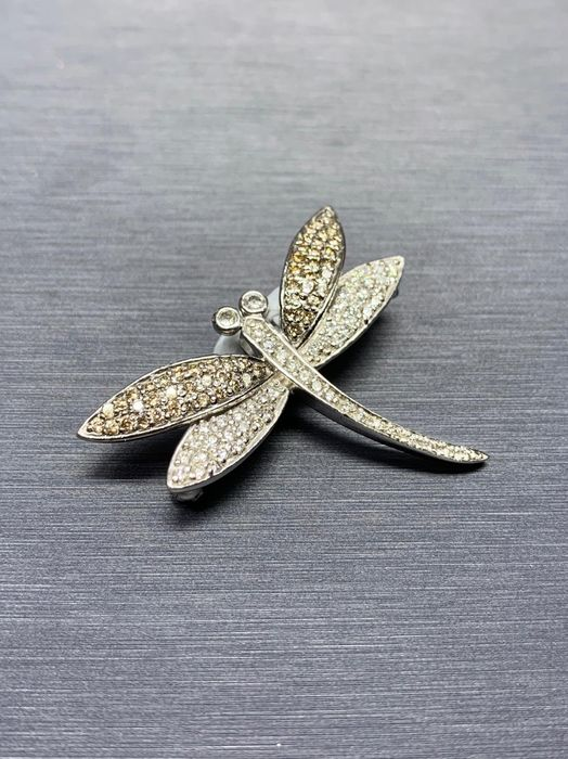 Pave Butterfly Platina - Brosje - 0.50 ct Diamant - Diamanter, Champagne farget
