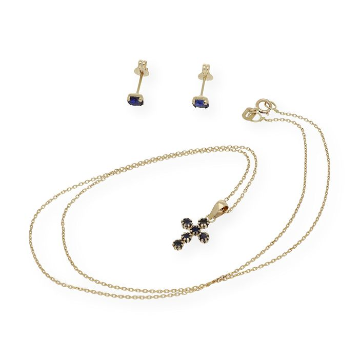 18 kt. Gold, Yellow gold - Earrings, Necklace, Set - 0.60 ct Sapphire