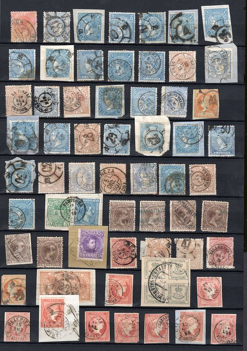 Spanje 1855/1901 - Postal History with 75 stamps + 12 assorted letters