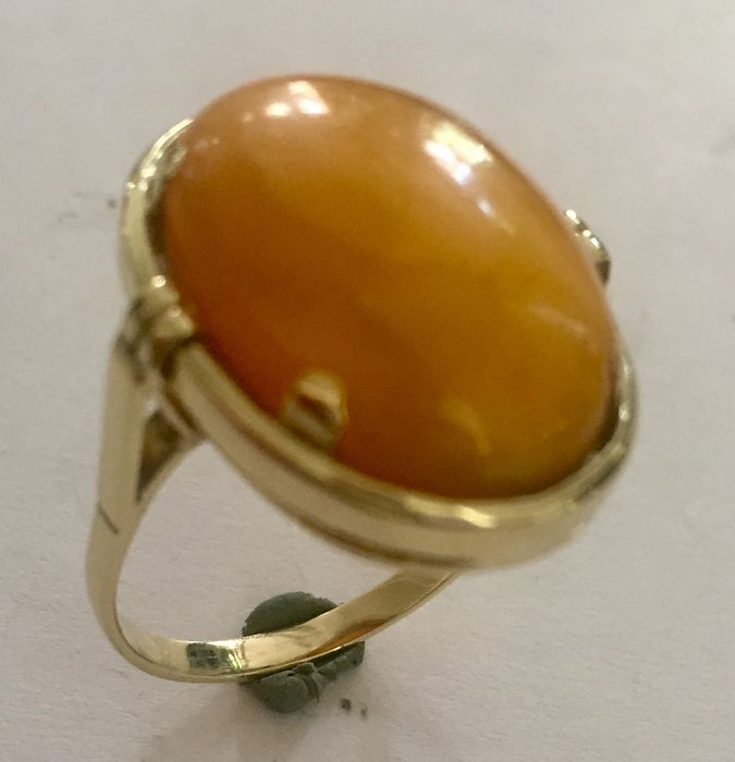 14 kt Gelbgold - Ring Amber