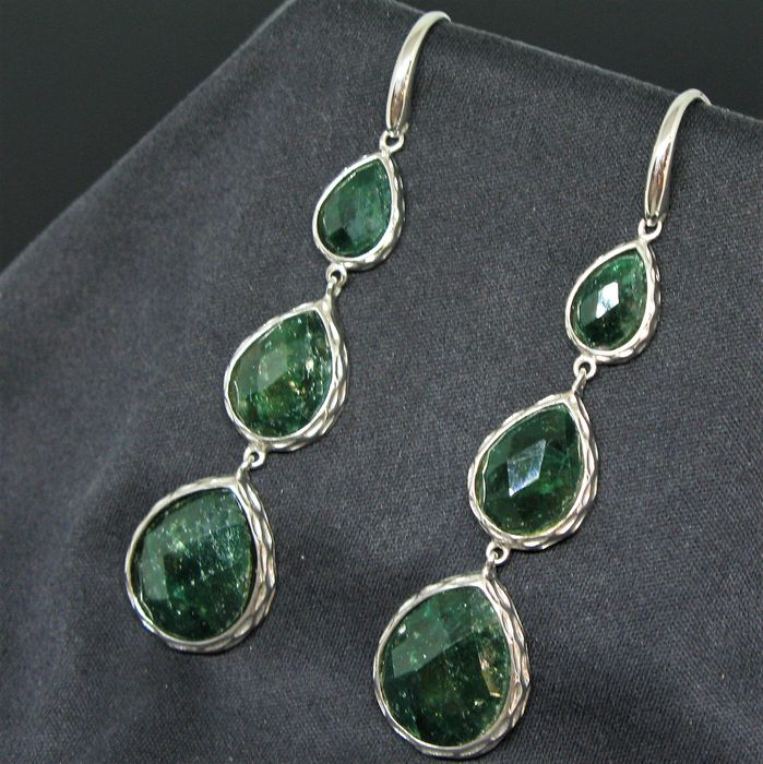 925 solid silver pendant earrings with emeralds pear-cabochon-faceted-cut 16 - 12.5 - 9.50 mm - 15.4 g