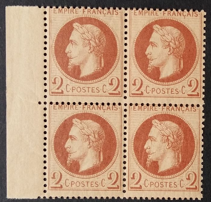 Frankreich 1862 - Napoleon III lauré, 2 c red-brown, block of 4 - Yvert 26A