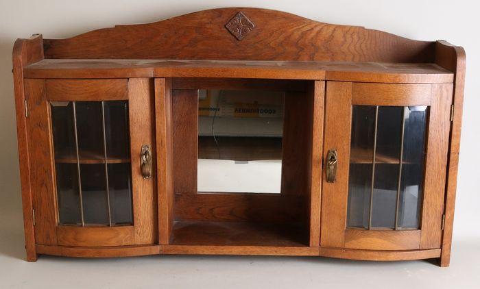Hanging display cabinet with glass doors and mirror